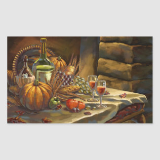 Thanksgiving Day Postcard Rectangle Sticker