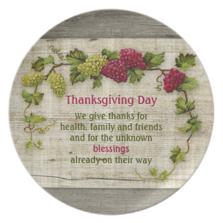 Thanksgiving Day Quote Grapes plate