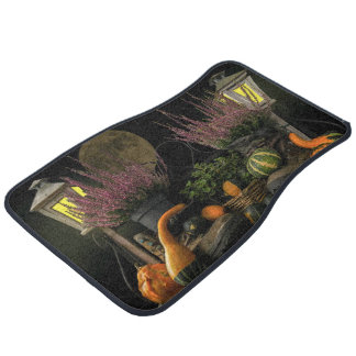 Thanksgiving Day Scene With Bench and Fall Harvest Car Mat