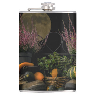 Thanksgiving Day Scene With Bench and Fall Harvest Hip Flask