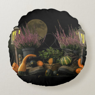Thanksgiving Day Scene With Bench and Fall Harvest Round Cushion