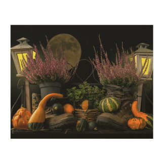 Thanksgiving Day Scene With Bench and Fall Harvest Wood Wall Art