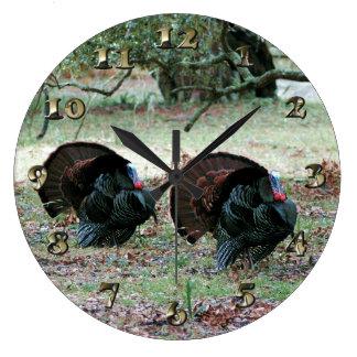 Thanksgiving Day Wild Turkeys in an Open Field Large Clock