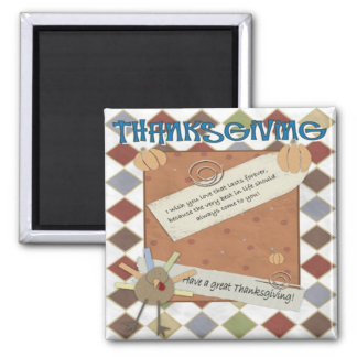 thanksgiving day wishes square magnet