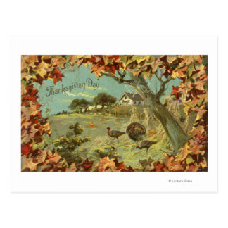 Thanksgiving DayFallen Leaves and Turkeys Postcard