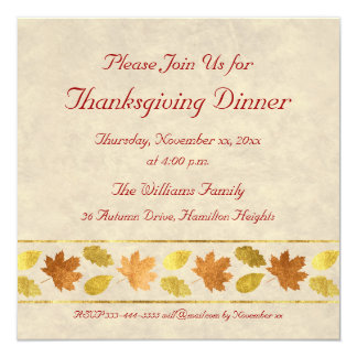 Thanksgiving Dinner 13 Cm X 13 Cm Square Invitation Card