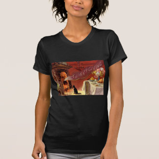 Thanksgiving Dinner Black Cat Fireplace Turkey T-Shirt