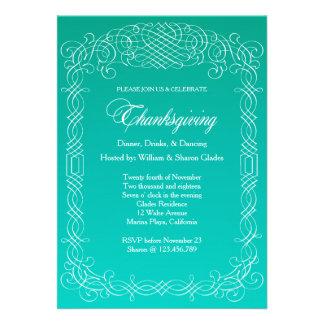 Thanksgiving Dinner Calligraphy Border Custom Announcements
