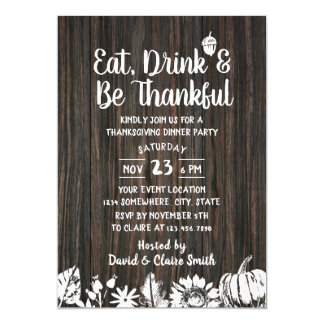 Thanksgiving Dinner Country Dark Wood Card
