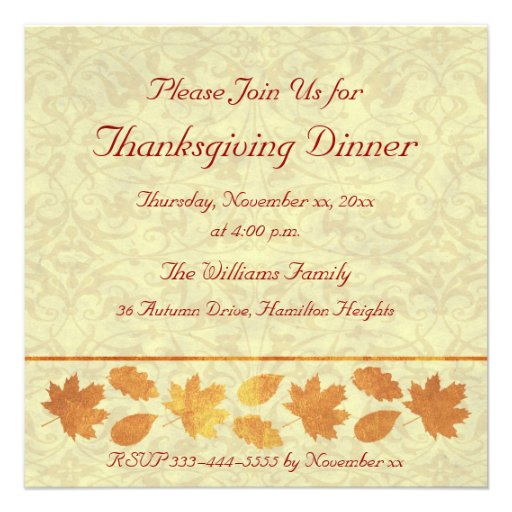 Thanksgiving Dinner Announcement