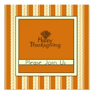 "Thanksgiving Dinner Invitation 5.25"" Square Invitation Card"