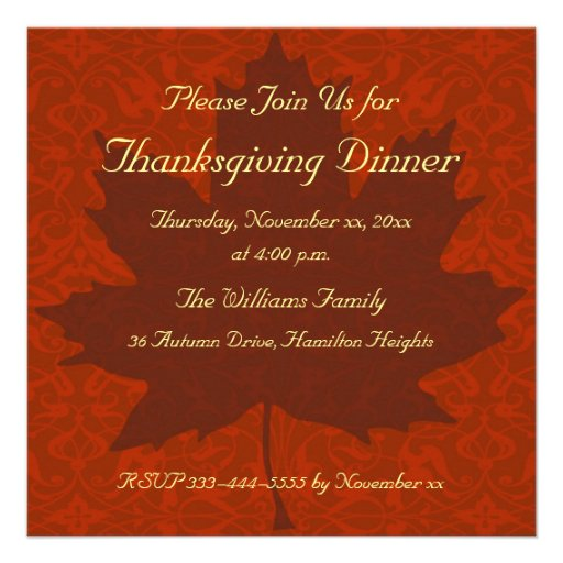 Thanksgiving Dinner Personalized Invite