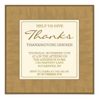 "Thanksgiving Dinner Invitation Elegant Brown 5.25"" Square Invitation Card"