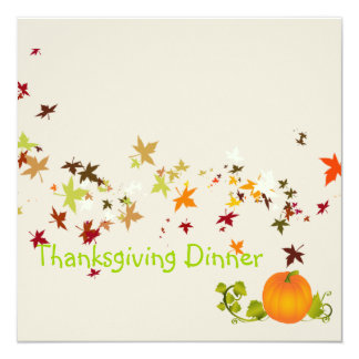 "Thanksgiving Dinner, maple leaves 5.25"" Square Invitation Card"