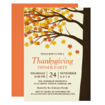 Thanksgiving Dinner Party Maple Leaves Autumn Tree 13 Cm X 18 Cm Invitation Card