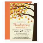 Thanksgiving Dinner Party Maple Leaves Autumn Tree Card
