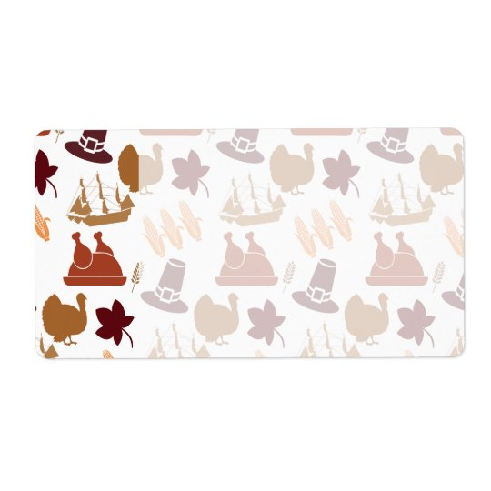 Thanksgiving Fall Autumn Harvest Pattern Shipping Label