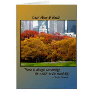 Thanksgiving Fall in Central Park for Aunt Uncle Card