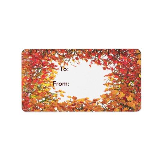 Thanksgiving Fall Leaf Circle Gift Tag Address Label