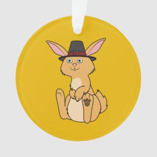 Thanksgiving Fawn Rabbit with Pilgrim Hat