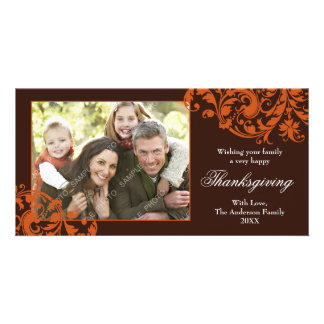 Thanksgiving Flourish Swirls Orange and Brown Card