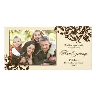Thanksgiving Flourish Swirls Tan and Brown Customised Photo Card