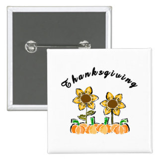 Thanksgiving Flowers Button
