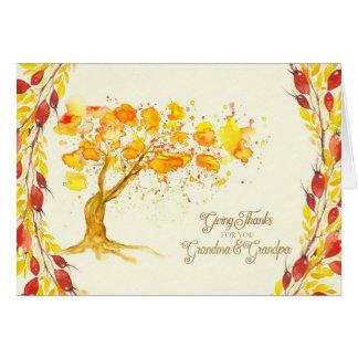 Thanksgiving for Grandma and Grandpa Autumn Tree Card