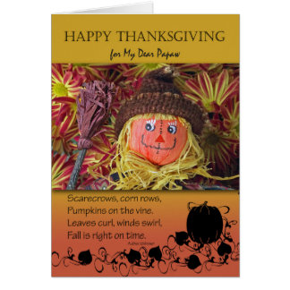 Thanksgiving for Papaw, Cute Scarecrow and Poem Card
