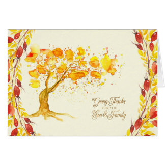 Thanksgiving for Son and Family Autumn Tree Card