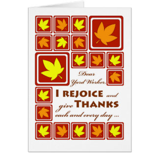 Thanksgiving for Yard Worker, Autumn Leaves Card