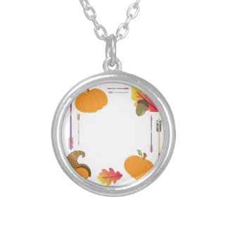 Thanksgiving Frame Silver Plated Necklace