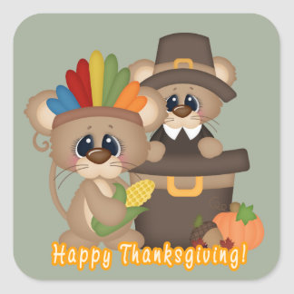 Thanksgiving friends Holiday pilgrim Indian mice Square Sticker