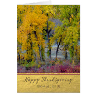 Thanksgiving From All of Us Autumn Trees Card