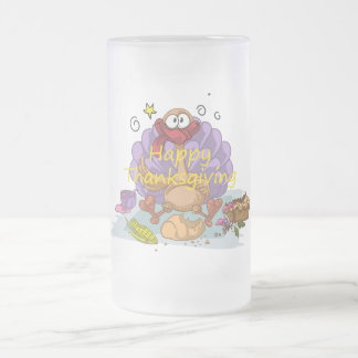 Thanksgiving Frosted Glass Beer Mug