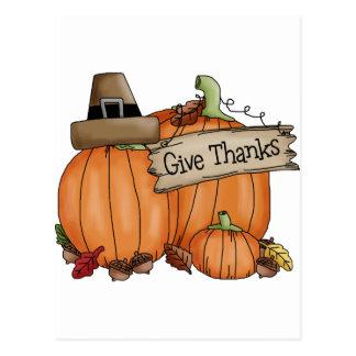 Thanksgiving Give Thanks Postcard