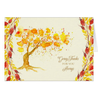 Thanksgiving Give Thanks Tree and Briar Berries Card