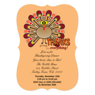 Thanksgiving goggly eyed turkey 13 cm x 18 cm invitation card