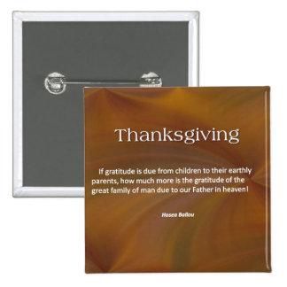 Thanksgiving Gratitude 15 Cm Square Badge