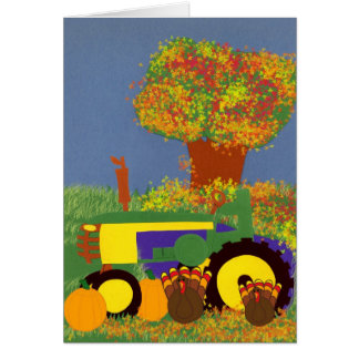 Thanksgiving Green Tractor with Turkeys Card