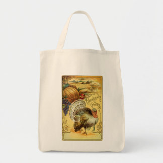 Thanksgiving Greeting with a Turkey Grocery Tote Bag