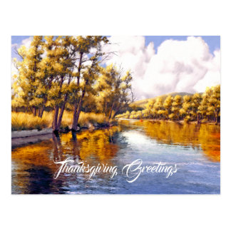 Thanksgiving Greetings. Autumn Scenery Postcards