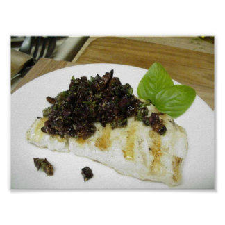 Thanksgiving Grilled Cod Fig Taupenade Poster