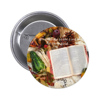 Thanksgiving Harvest and Bible 6 Cm Round Badge