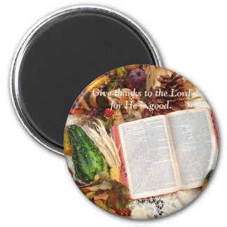Thanksgiving Harvest and Bible 6 Cm Round Magnet