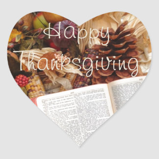 Thanksgiving Harvest and Bible Heart Sticker