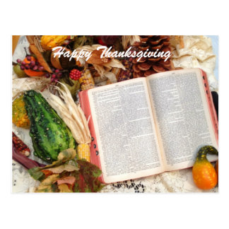Thanksgiving Harvest and Bible Postcard