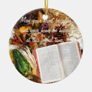 Thanksgiving Harvest and Bible Round Ceramic Decoration