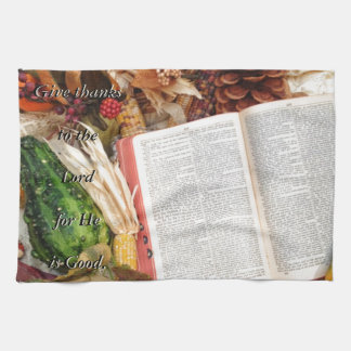 Thanksgiving Harvest and Bible Tea Towel