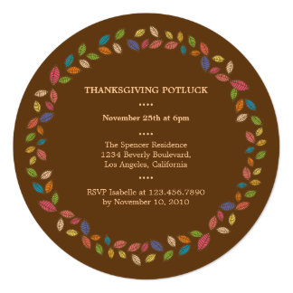 Thanksgiving Harvest Leaves Potluck Party 13 Cm X 13 Cm Square Invitation Card